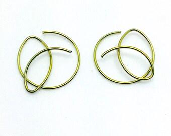 Niobium Hoops. small hoops. niobium earrings. Celtic knot earrings. minimalist earrings. niobium wire earrings. Modern hoop earrings