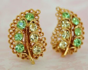 Vintage Clip-On Earrings with Yellow and Lime Rhinestone Leaves