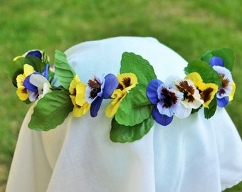 Pansy Flower Crown, Garland, Wreath Headpiece. Pansies in Violet, Yellow, and White. Spring Flower Crown.