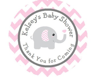Baby Shower Personalized Round Party Favor Stickers - Pink Grey Gray Elephant Chevron Stickers - **Discounts Available