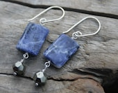 Navy Blue Sodalite and Sparkly Pyrite Gemstone Wire Wrapped Sterling Silver Earrings. Sodalite, Pyrite.  Handmade ear wires, ear hooks