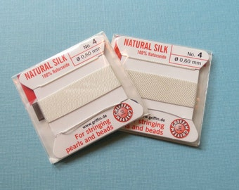 Natural Silk Cord With Needle - 2 packs - Size 4 - White