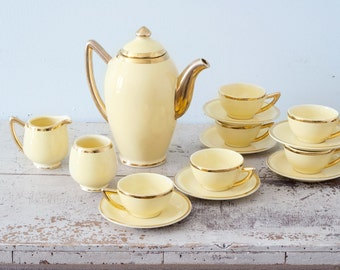 The Perfect Tea Set for your Afternoon Tea Party ! Gorgeous 15 Piece Tea Set for 6 - Santa Finita Ware Gold and Yellow -