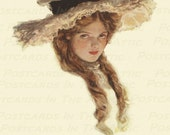 "Sweet Victorian Brunette in a Merry Widow Hat ""Sweetheart"" 600 DPI - Digital Art - Scrapbooking, Card Making & Crafts - INSTANT DOWNLOAD"