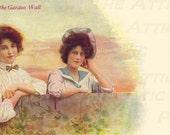 Cottage Scene Over The Garden Gate - Victorian Women -  Digital Hand Designed Art - Scrapbooking, Card Making & Crafts - PRINTABLE DOWNLOAD