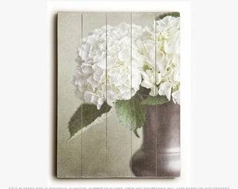 wood plank sign hydrangea wall art ready to hang wall art cottage chic