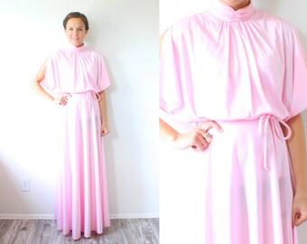 Vintage BOHO // pink floral maxi 70s dress // sleeved modest formal dress // goddess prom dress // floral maxi dress // bohemian dress