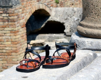 Hippie Sandals, Boho Sandals, Women Sandals, Double Color Burnished Leather Sandals, Handmade Sandals With Imprints - MIRACLE
