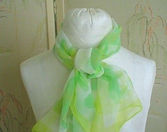 Hand Painted Scarf with Yellow and Green Floral Design Long Sheer Vintage Scarf