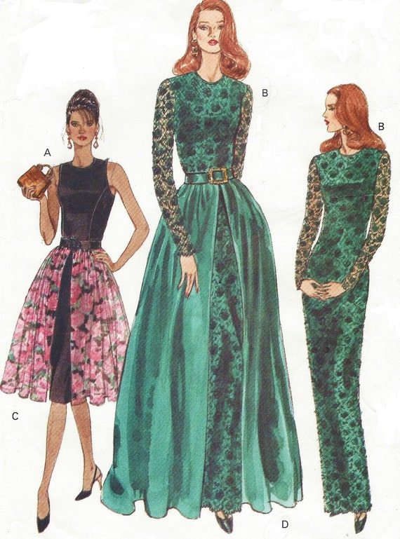 90s Womens Evening Gown With Overskirt Vogue Sewing Pattern
