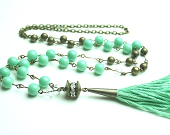 Tassel Necklace Mint and Brass Luxe Beaded Tassel Necklace FREE SHIPPING