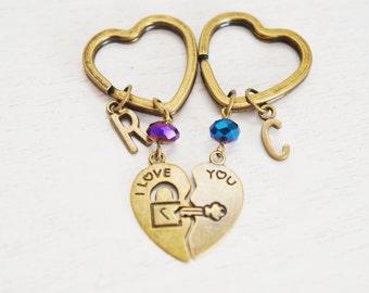 couples keychain gift, initial keychain, best friend, personalized heart key keychain, lock and key jewelry, purse keyring, initial jewelry