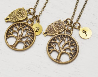 owl necklace, family tree of life necklace, graduation gift, personalized best friend necklace , keepsake, christmas, baby owl, sister gift