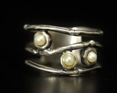 SALE Sterling Pearl Ring Cigar Band Width (3) Seed Pearls  Size 9