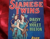 Siamese Twins Postcard Conjoined by Quigley Playing Saxaphone Daisy and Violet Hilton 1971 Nasty Jack Trading Co Freaks Carnival Circus