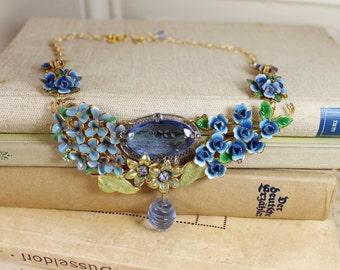 SALE- Divine Flora- Antique Austrian Enamel Blue Floral Statement Necklace- Rhinestone, Gold- Refashioned Vintage Collage- One of a Kind