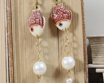 I'm Forever Blowing Bubbles- Hand Carved Bone Fish and Freshwater Pearl Earrings- Gold Filled Leverback Wires- One of a Kind