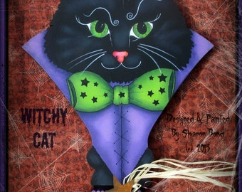 E PATTERN - Witchy Cat - LARGE Key - Fantastic Colors for Halloween for this Witchy Cat and Magical Stars - Designed by Sharon Bond - FAAP