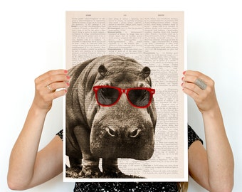Cool Hippo poster,  ,funny animal art, Wall art nursery decor ,Nursery art,Nursery poster print ANI013PA3