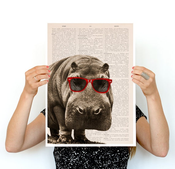 Cool Hippo poster,  ,funny animal art, Wall art nursery decor ,Nursery art,Nursery poster print ANI013PA3