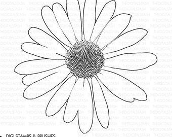 DAISY - Digital Stamp and Brush - INSTANT DOWNLOAD - for Cards, Scrapbooking, Invites, Collage, Journaling, Crafts and More