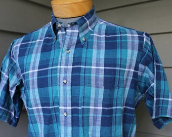 vintage 80's - 90's Men's India Madras short sleeve shirt. Button down collar - Split yoke. Handwoven Blues & Greens. Large