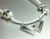 Silver Butterfly Necklace wth Emerald Green Cubic Zirconia- PMC3 99.9% Silver, Handmade silver necklace
