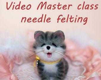 Video Master Class: Needle Felted Cute kitten; Miniature Needle Felt kitten, Needle Felting