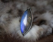 BLUE TEASE, Labradorite Marquise ring, size 6.75, sterling silver ring, Gypsy boho