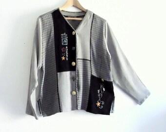 Sale  Embriodered Patchwork Shirt Summer Jacket Small, Medium, Large