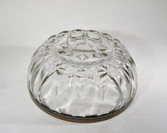 Lovely Italian Cut Glass Serving Bowl with Silver Rim