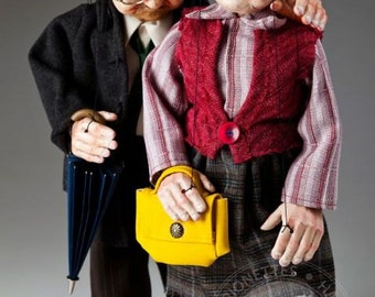 Old Couple Fanny and Joe Czech Marionettes Puppets