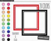 Square Digital Frames, Square Labels, Square Frame Clipart, Instant Download, Commercial Use
