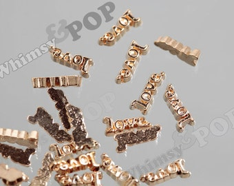 Gold Tone Love Text Floating Memory Charms, Floating Charm, Memory Charm, 10mm x 5mm (5-5F)