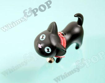 1 - 3D Black Kitty Cat Charm Pendant for Gumball Necklaces, Cat Charm, 37mm x 60mm x 55mm (R8-221)