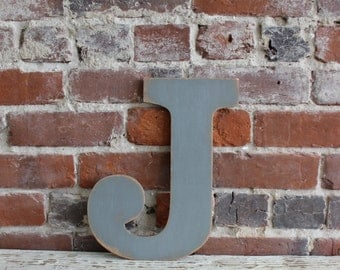 "12"" Wooden Letter J, Classic Font in Distressed Gray - all letters available in many colors"