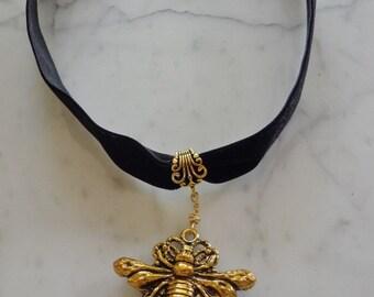 Black Velvet Insect Choker in Gold Tone