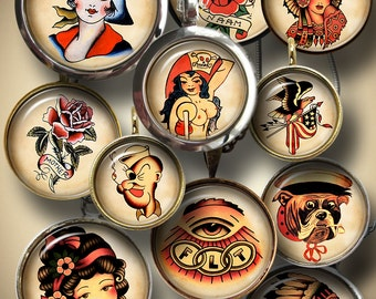 """Retro Old School Tattoo Digital Collage Sheets for Bottle Caps, Pendants 1.5"""" 1.25"""" 30mm 1"""" 25mm circles, Printable Digital Download CG-916"""