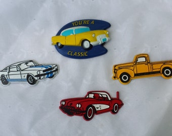 Set of Four Classic Car Refrigerator Office Magnets