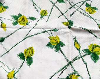 Vintage Fabric Yellow Roses Basket Weave Cotton Abstract Mid Century Material 1950s 1960s Yardage 35 x 58 Inches