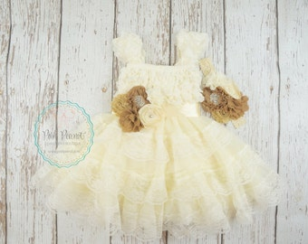 ivory flower girl dress- rustic flower girl dress- lace flower girl dress- flower girl dresses- country flower girl dress- girls dresses