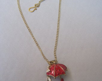 Misty and Rainy Day Red Umbrella Pendant Necklace