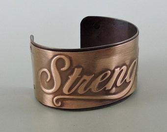 Copper Cuff, Antiqued Copper Bracelet 6 by 1 1/2 inches Wide Cuff, Copper Jewelry, Strength Inspiration Jewelry
