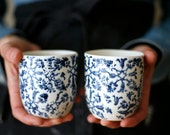 Petit café / Small coffee/ blue flowers set of two cups