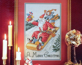 Cathy Livingston SLEDDING SANTA CLAUS By Just Cross Stitch Symbol Of Excellence - Counted Cross Stitch Pattern Chart