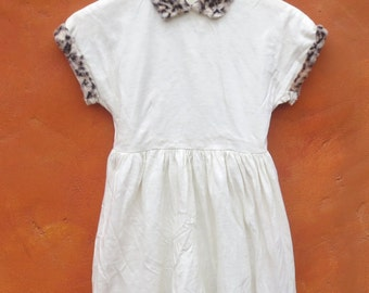 Vintage Girl's 1950s 1960s White Faux Leopard Fur Swing Dress. Party Day. Flower girl. Size 7 8 9