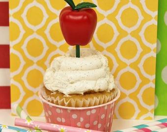 Apple Cupcake Picks, 12 Apple Cupcake Toppers, Apple Cupcake Picks, Back To School, Snow White Party, Teacher Cupcake Decoration, School