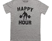 Mens T-shirt - Happy Hour - Mens Apparel - Fitness Inspired apparel for the gym, for working out -Screen Printed Tee by We Are All Smith