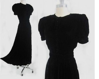 Silver Screen Classic Hollywood Vintage 30's 40's Black Velvet Evening Cocktail Party Dress Gown S