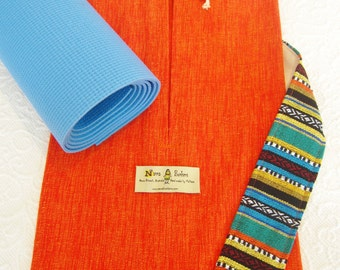 Yoga mat bag - pure cotton - CHOOSE FABRICS at sidebar - large bag with optional extras - so quiet & easy to use.